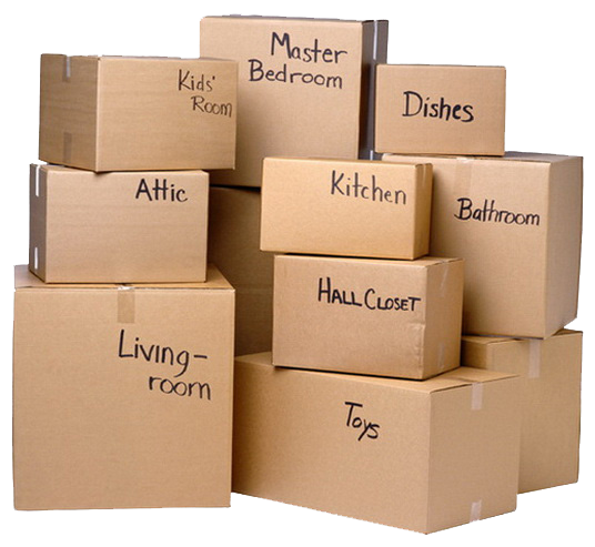 labeled packing boxes