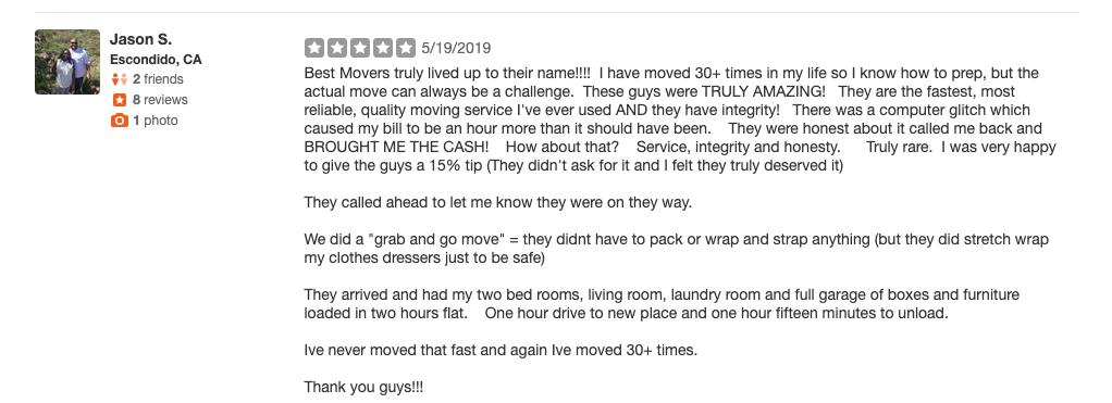 moving companies escondido ca reviews