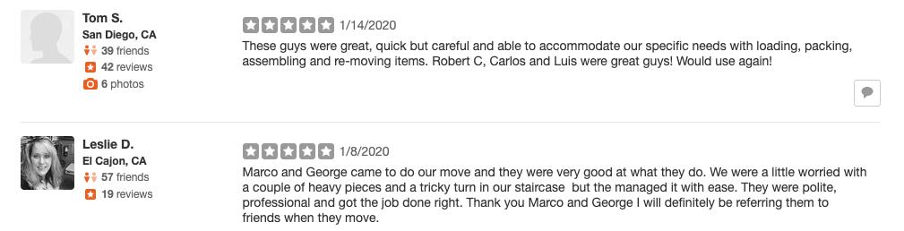 reviews for movers escondido ca