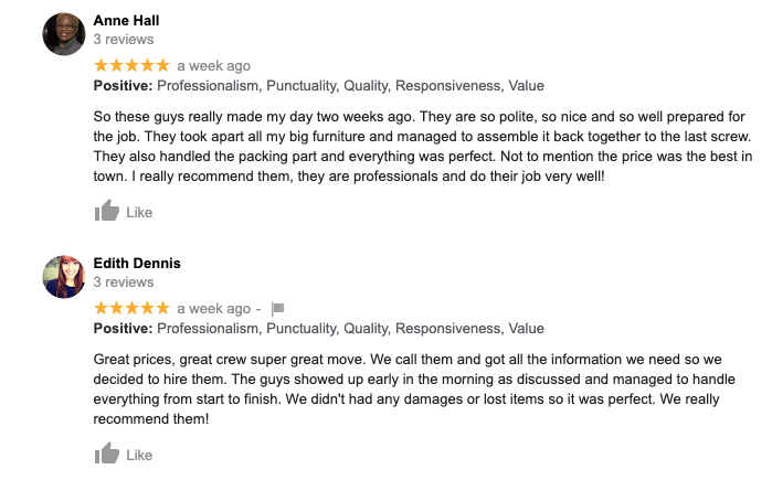 Reviews for Movers in Vista
