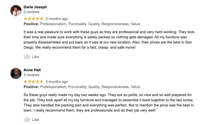 lemon grove moving company reviews